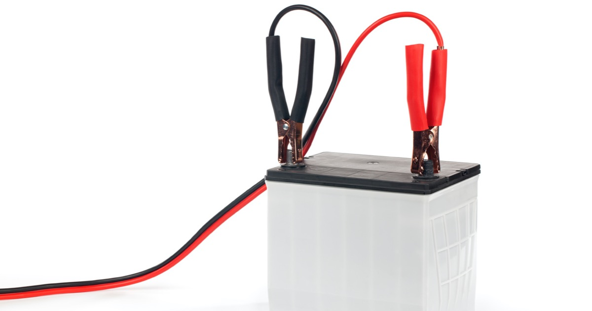 battery with jumper cables picture id183424961